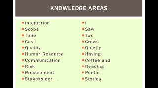 Pmp How To Remember Knowledge Areas Chart Mnemonic