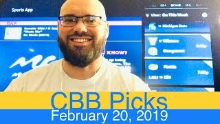 CBB Picks (2-20-19) | College Basketball NCAAB Expert Predictions Video CBK NCAAM | Men's MBB Vegas