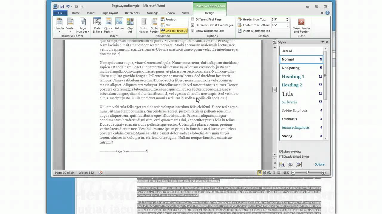 Page Break 2010 Word ms Word 2010 Complex Page