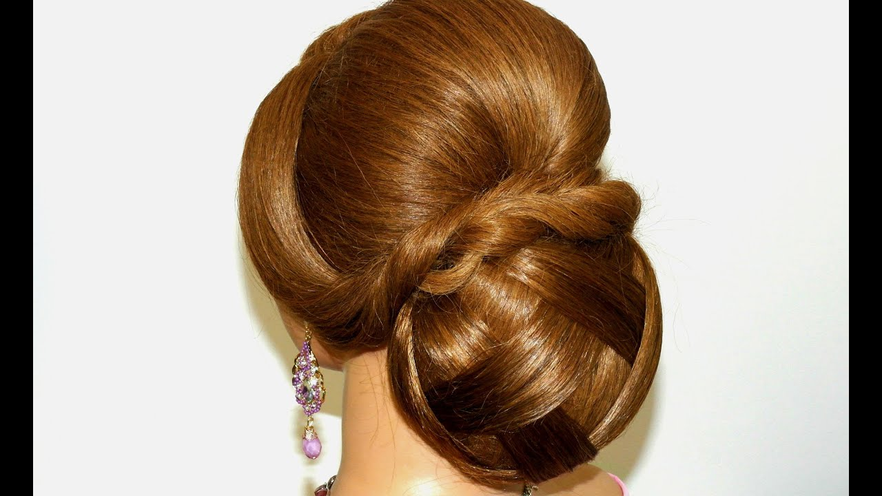Prom wedding hairstyle for long hair. Bun updo. - YouTube