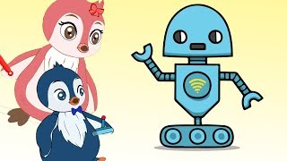 Penguins Сollects Robot will help Cartoon for Kids
