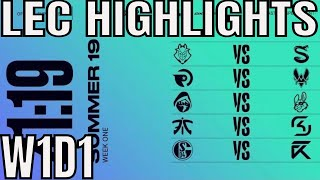 LEC Highlights ALL GAMES Week 1 Day 1 Summer 2019 Leaguee of Legends EULCS