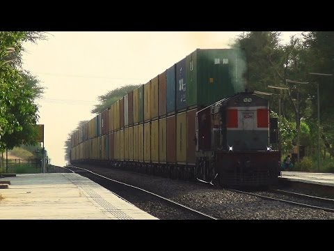 Indian Railways Double-stack : LDH WDG 3A struggles hard to pull 45X2 double stacked containers