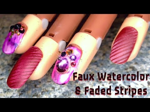 Faux Watercolor using Alcohol Inks & Gradient Stripes | Nail Art