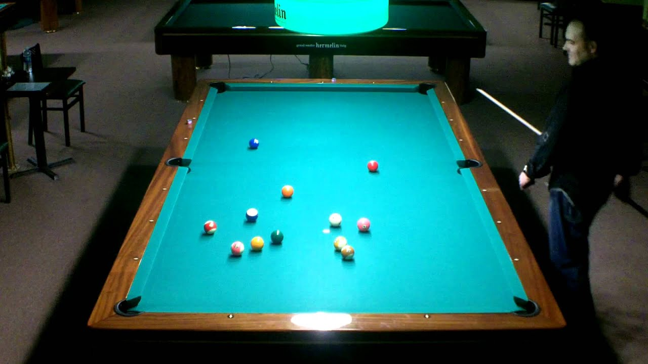 Cool pool trick shots on 10 foot pool table plus straigt pool rack
