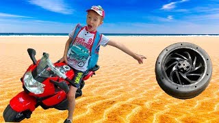 Funny Kids Unboxing and Riding a Sport Bike BMW Electric Toy - Children's Power Wheel