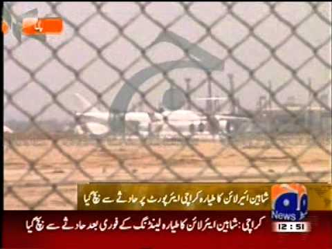 Geo News Live Coverage-Shaheen Air-Narrow Escaped Crash Landing On Karachi Airport-by roothmens