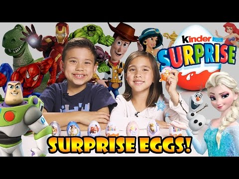 Super Kinder Surprise Egg Opening! + Frozen, Toy Story, Avengers, Disney, Spider-man, Kinder Joy! video