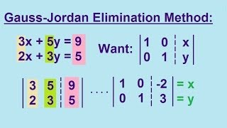 Algebra - Solving Linear Equations by using the Gauss-Jordan Elimination Method 2/2