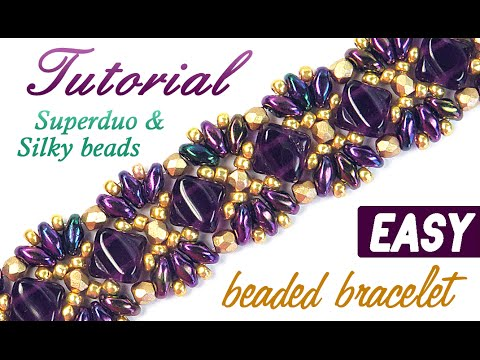 "Tutorial: Beaded bracelet ""Princess"" Superduo Silky beads / Браслет ""Принцесса"" из бисера Супердуо - видео на канале Anchik Mart"