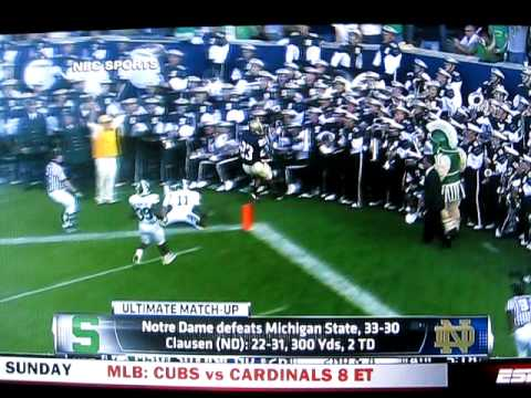 Notre Dame's Golden Tate jumps into the MSU band after scoring a TD. No penalty was called for excessive celebration. Should Dantonio send in the footage? If...