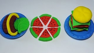 Play Doh: How To Make Sausage Watermelon Burger Food PlayDough