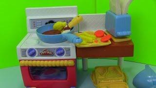 Play- Doh Meal Kitchen Play - doh Nhà Bếp Làm Đồ Ăn Sáng Gà Chiên
