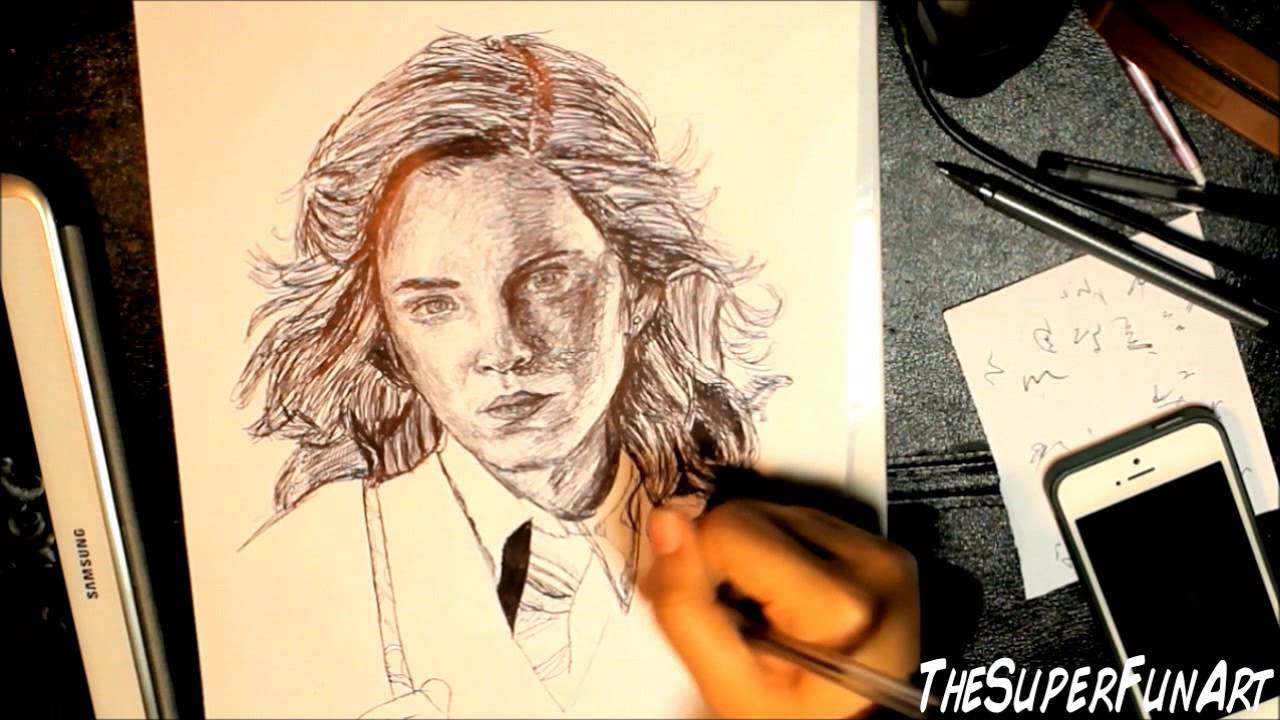 Hermione Granger Drawing Step by Step Hermione Granger Biro Drawing