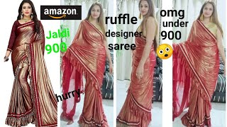 Purvi fashion designer ruffle frill saree.. Amazon trendy saree