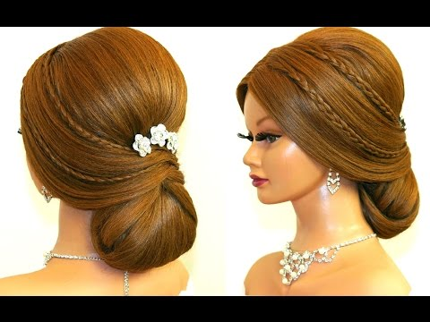 Bridal updo. Wedding prom hairstyles for long hair.
