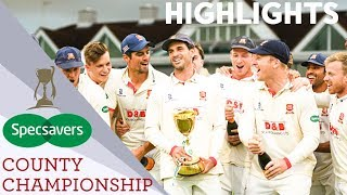 Essex Become County Championship Champions! | Somerset v Essex | Specsavers County Championship 2019