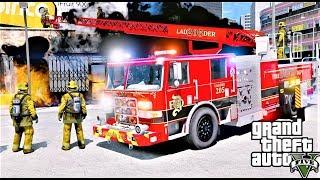 GTA 5 Firefighter Mod #77 Davis Fire Department Ladder Truck Responding To Fires