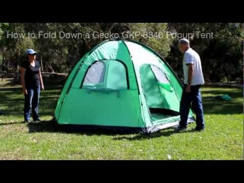 How to Fold Down a Gecko GKP-6340 10 Second Popup Tent
