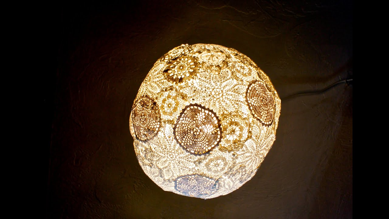 How to make a doily light fixture youtube for Doily light fixture