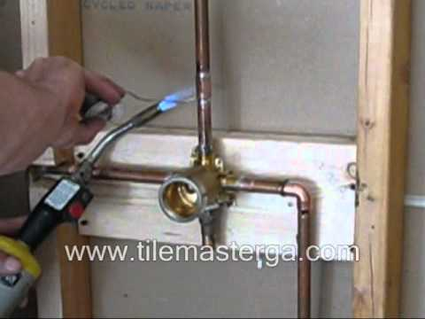 Shower Valve replacement - brass rough in installation. copper soldering How to DIY - DELTA Part