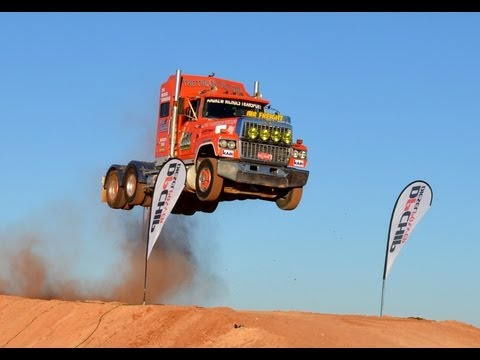 Semi Truck Jump, Prime Mover  Video 2 Australia Extreme Live Loveday 4x4 Park Rum Jungle Trucking video
