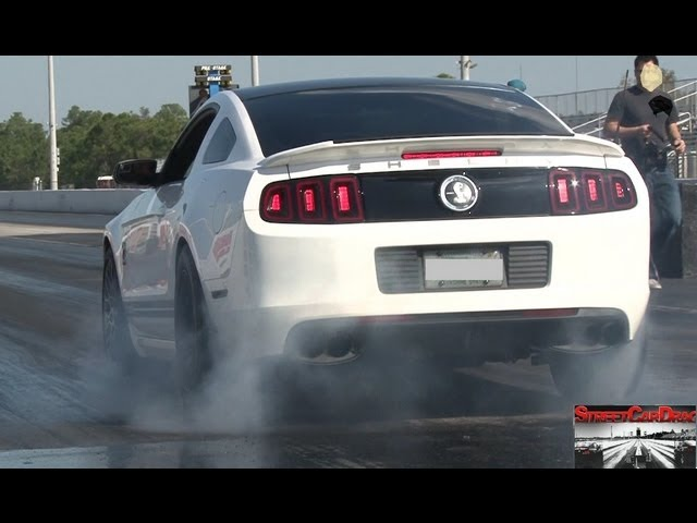 Modded 2013 Shelby GT 500  Drag Race Video (Pulley, Tune, Exhaust, Throttle Body) - StreetCarDrags