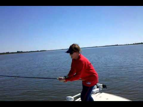 Sharon fishing in Savannah