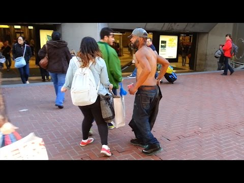 Crazy Half-Naked Bum at the Powell Station (San Francisco)