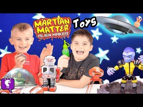World's Biggest UFO Surprise Egg! Alien Martians CRASH + Spaceship Robots and Toys HobbyKidsTV