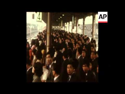 SYND 18 4 73 NATIONWIDE PUBLIC TRANSPORT STRIKE HITS JAPAN