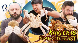 KING CRAB SEAFOOD FEAST & Sake With Adam Richman & Binging with Babish