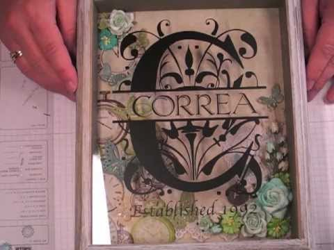 Monogram Shadow Box using Silhouette Cameo with Vinyl