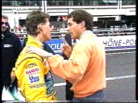 The very angry Senna's quarreling with Schumacher after the German put him out of the race. Senna (heatedly) to Schumacher :