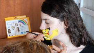 How to make easy funny pikachu pokemon face painting for kids