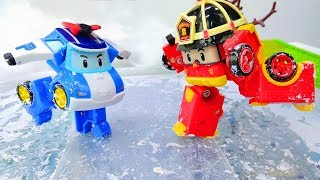 Robocar Poli and Roy at the ice rink.