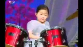 Funny North Korean Kids Playing Drums