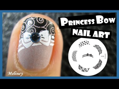 PRINCESS BOW FRENCH TIP STAMPING NAIL ART DESIGN TUTORIAL FOR SHORT NAILS   MELINEY KONAD M56