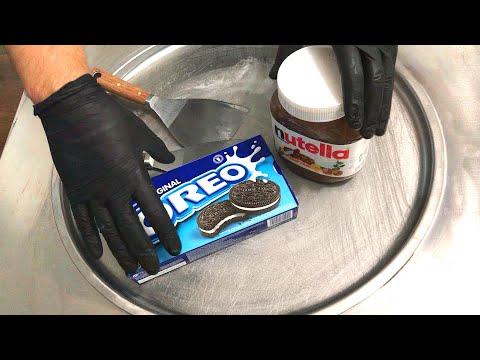 Nutella & Oreo Ice Cream Rolls  how to make delicious Nutella and Oreo Cookies ice cream  ASMR