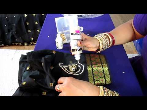 DIY: SEW MIRROR ON A SAREE BLOUSE AND DECORATE IT.