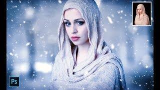 Photoshop Tutorial - Snow fall Girl portrait editing In Photoshop(#Photoshop)