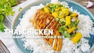 Thai Chicken with Mango Salsa and Coconut Rice