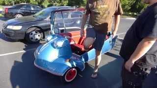 Giant man squeezes into my Messerschmitt kr200 microcar