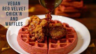 Vegan Red Velvet Chicken and Waffles | Vegan Soul Food | Vegan Chicken and Waffles ????????????????