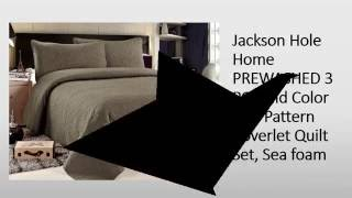 Jackson Hole Home PREWASHED 3 PC Solid Color Soft Pattern Coverlet Quilt Set Reviews