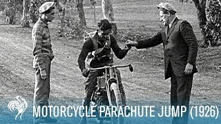 Motorcycle Parachute Jump Ends in Crash (1926) | British Pathé