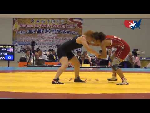 2012 Junior Worlds - FW 67kg repechage - Jennifer Page (USA) vs. Martina Kuenz (AUT)