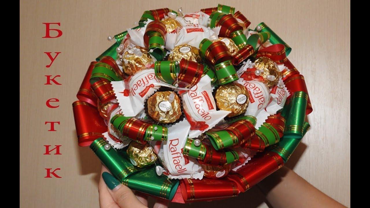 Простой подарок из конфет своими руками для женщин 2