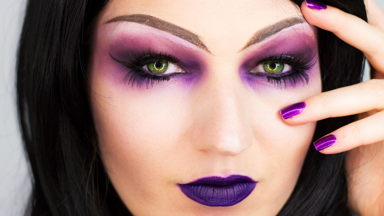 Sorceress Purple Witch Halloween Makeup - YouTube