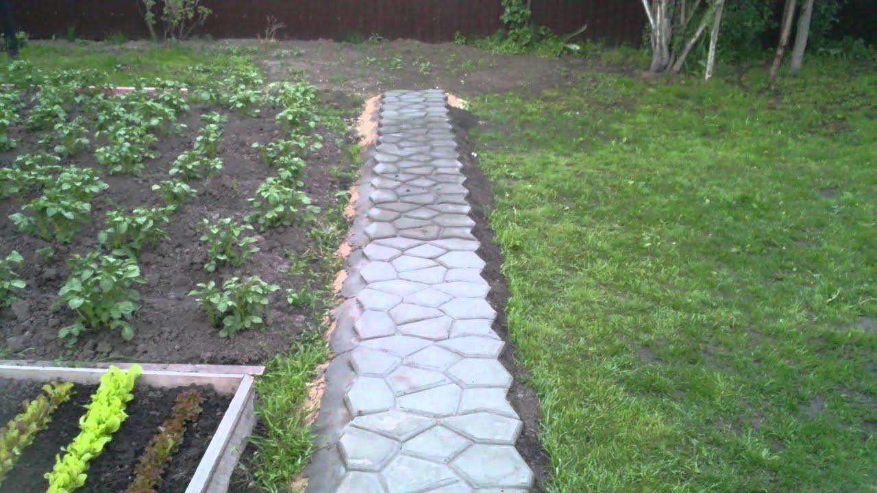 Создание садовой дорожки при помощи формы своими руками 80